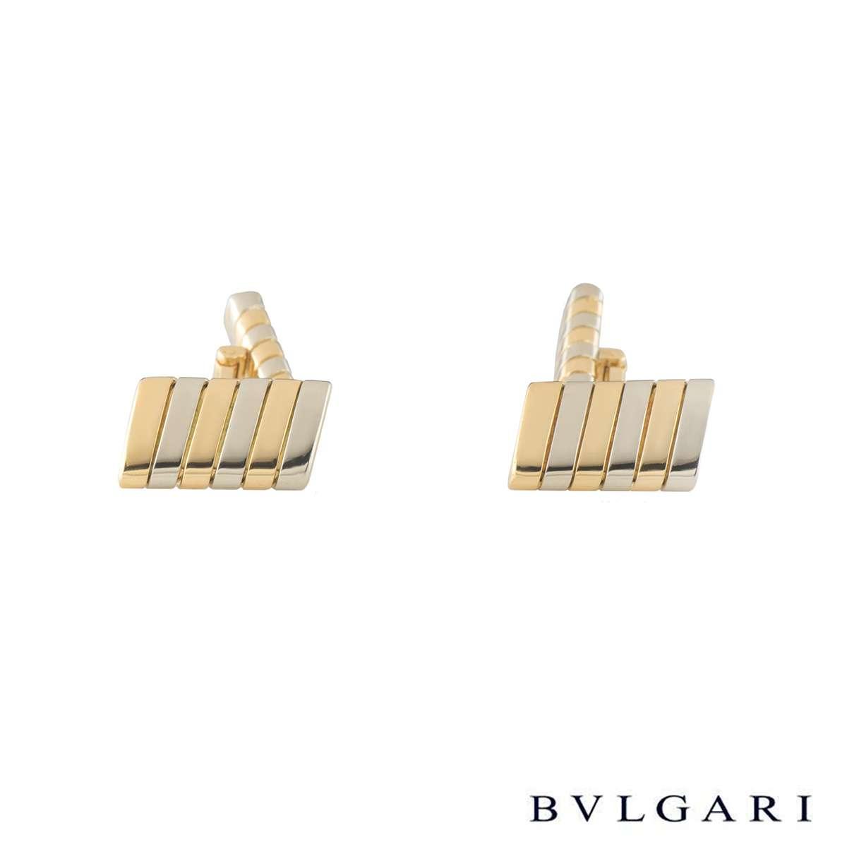 BvlgariYellow and White Gold Tubogas Cufflinks